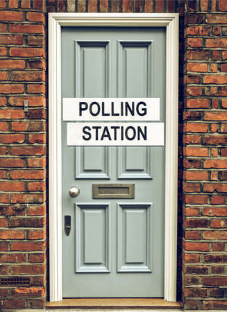cast in place: Vintage looking Polling station place for voters to cast ballots in elections