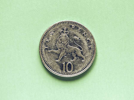 pence: Vintage looking British Pound coin currency of the United Kingdom - Ten Pence