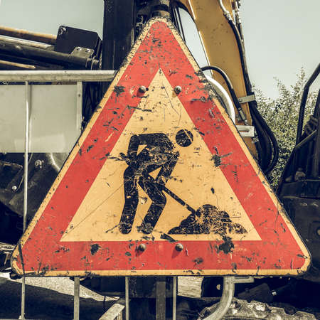 road works: Vintage looking Warning signs, Road works traffic sign Stock Photo
