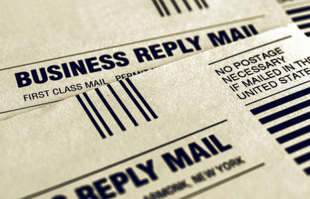 Vintage looking Detail of business reply mail form Stock fotó