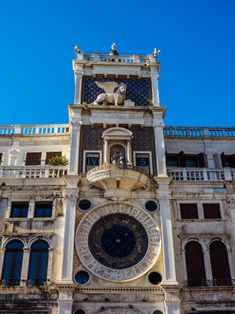 HDR Torre dell Orologio (meaning Clock Tower) in San Marco square in Venice, Italy
