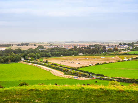 HDR English country panorama around Salisbury in England, UK Stock Photo
