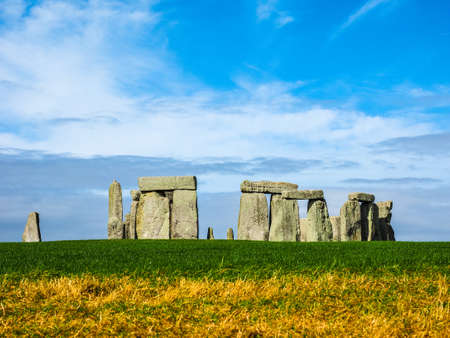 druid: HDR Ruins of Stonehenge prehistoric megalithic stone monument in Wiltshire, England, UK Stock Photo
