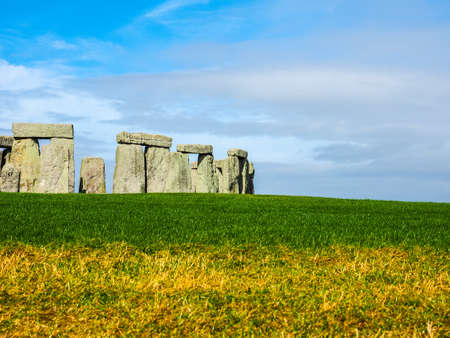 druid: HDR Ruins of Stonehenge prehistoric megalithic stone monument in Wiltshire, England, UK Editorial