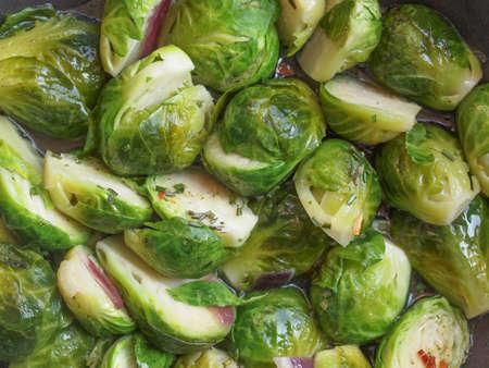 brassica: Brussels sprouts cabbage (Brassica oleracea) vegetables vegetarian food Stock Photo