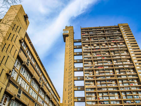 LONDON, ENGLAND, UK - MARCH 05, 2009: The Trellick Tower in North Kensington designed by Erno Goldfinger in 1964 is a Grade II listed masterpiece of new brutalist architecture (HDR) Editorial