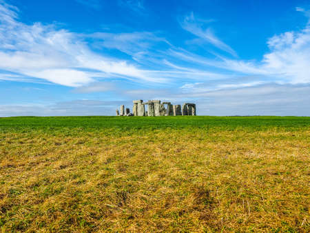 HDR Ruins of Stonehenge prehistoric megalithic stone monument in Wiltshire, England, UK Stock Photo