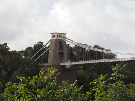 Clifton Suspension Bridge spanning the Avon Gorge and River Avon designed by Brunel and completed in 1864 in Bristol, UK Stock Photo