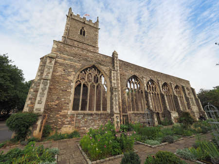 Ruins of St Peter church in Castle Park bombed during World War II and now preserved as a memorial in Bristol, UK Stock Photo