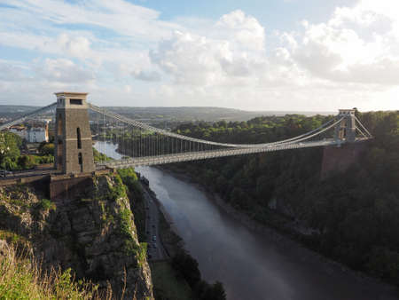 designed: Clifton Suspension Bridge spanning the Avon Gorge and River Avon designed by Brunel and completed in 1864 in Bristol, UK Editorial