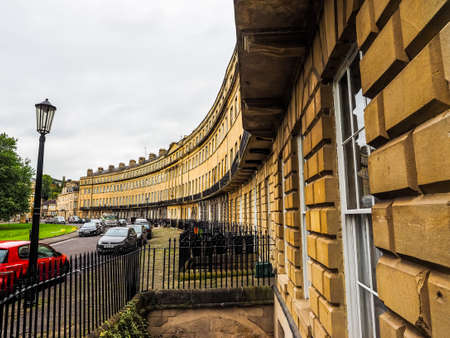 BATH, UK - CIRCA SEPTEMBER 2016: HDR The Norfolk Crescent row of terraced houses Editorial