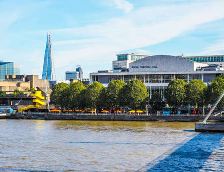 LONDON, UK - SEPTEMBER 29, 2015: The Royal Festival Hall built as part of the Festival of Britain national celebrations in 1951 is still in use as a major music and entertainment venue (HDR) Editorial