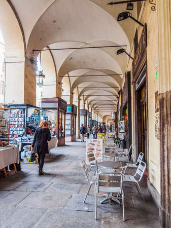 po: TURIN, ITALY - MARCH 11, 2014: Tourists in Via Po highstreet (HDR)