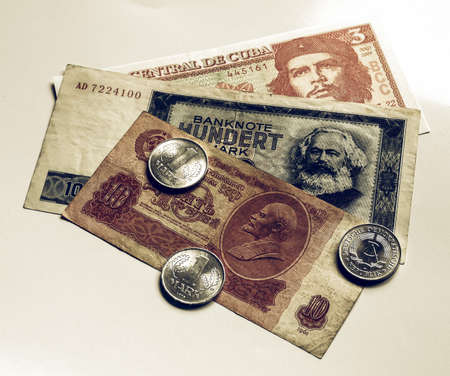 Vintage looking Money from the Communist countries: CCCP SSSR DDR Cuba Stock Photo