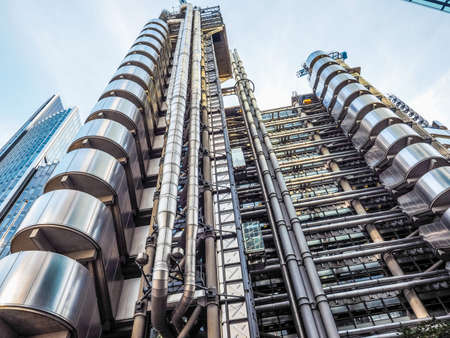 LONDON, UK - SEPTEMBER 29, 2015: Lloyd of London is an iconic high tech skyscraper designed by architect Richard Rogers (HDR)