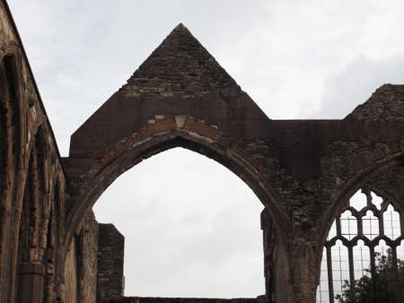 bombed: Ruins of St Peter church in Castle Park bombed during World War II and now preserved as a memorial in Bristol, UK Stock Photo