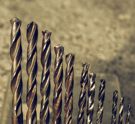 diameters: Vintage looking Range of drill bits of various diameters Stock Photo