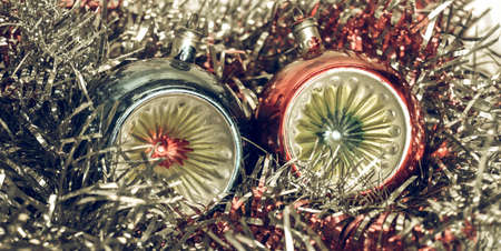 the tinsel: Vintage looking Tinsel and baubles for Christmas tree decoration