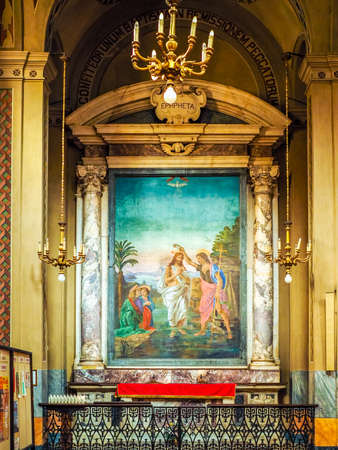 baptismal: TURIN, ITALY - CIRCA JUNE 2016: Baptismal font in San Donato Immacolata Concezione (meaning Immaculate Conception) church (HDR)