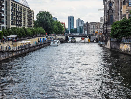 BERLIN, GERMANY - CIRCA JUNE 2016: Boat on River Spree (HDR) Editorial