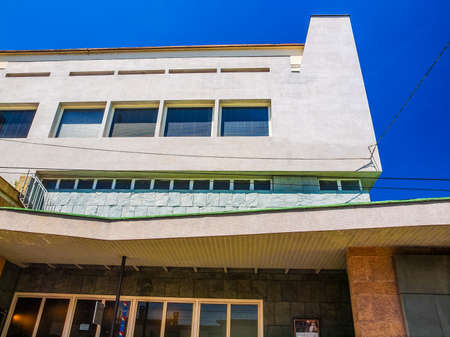 arturo: TURIN, ITALY - JUNE 20, 2014: The Auditorium RAI music hall designed by architect Carlo Mollino in 1958 and dedicated to music director Arturo Toscanini is a masterpiece of modern architecture (HDR)