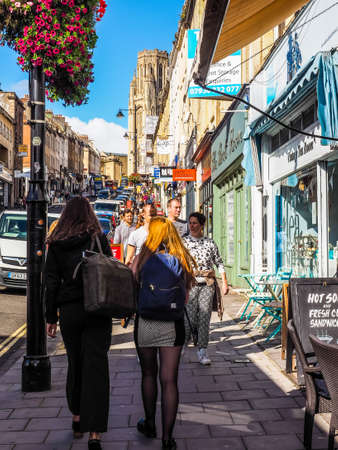 BRISTOL, UK - CIRCA SEPTEMBER 2016: HDR People in Park Street linking the city centre to Clifton