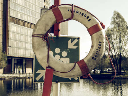 safety buoy: Vintage looking A life buoy for safety at sea Stock Photo
