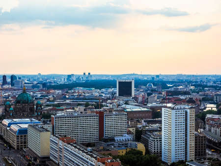 BERLIN, GERMANY - CIRCA JUNE 2016: Aerial view of the city from Alexanderplatz (HDR)