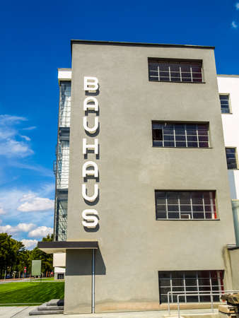 rationalist: DESSAU, GERMANY - AUGUST 6: The Bauhaus building masterpiece of modern architecture in the Unesco World Heritage List on August 6, 2009 in Dessau, Germany (HDR) Editorial