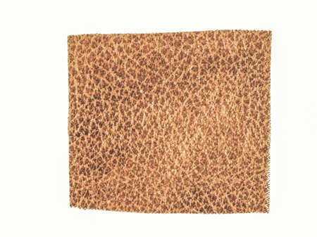 leatherette: Vintage looking Brown tabby fabric swatch leatherette over white background