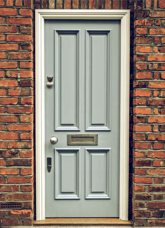 english house: Vintage looking Brightly coloured traditional English house door in London
