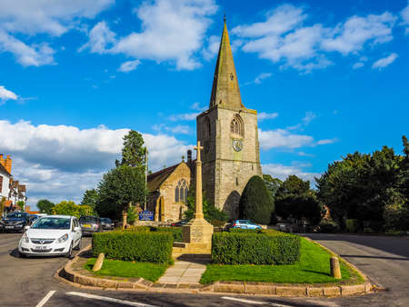 TANWORTH IN ARDEN, UK - SEPTEMBER 25, 2015: The Village Green with St Mary Magdalene church (HDR)