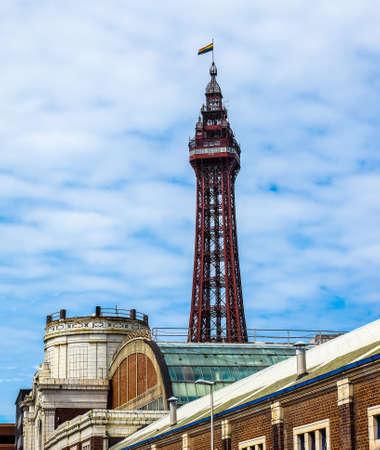 lancashire: The Blackpool Tower on the Pleasure Beach in Blackpool, Lancashire, UK (HDR)