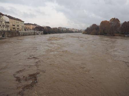 deluge: River Po flood in Turin city centre, Italy