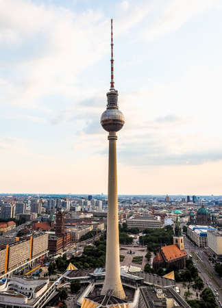 BERLIN, GERMANY - CIRCA JUNE 2016: Fernsehturm (meaning Television tower) in Alexanderplatz (HDR)