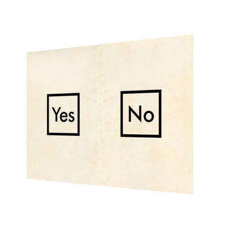 poll: Referendum poll ballot paper with Yes and No isolated over white background