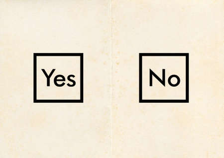 yes no: Referendum poll ballot paper with Yes and No