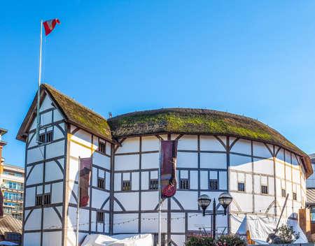 globe theatre: LONDON, UK - SEPTEMBER 28, 2015: The Shakespeare Globe Theatre (HDR) Editorial