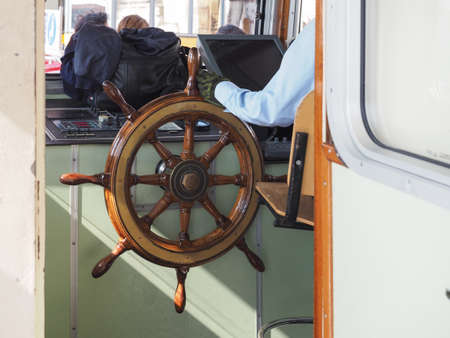 waterbus: VENICE, ITALY - CIRCA SEPTEMBER 2016: Interior view of a vaporetto (meaning Waterbus) on Canal Grande (meaning Grand Canal)