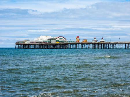 lancashire: Blackpool Pleasure Beach on the Fylde coast in Blackpool, Lancashire, UK (HDR) Stock Photo