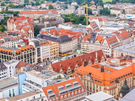 LEIPZIG, GERMANY - JUNE 14, 2014: Aerial view of the city (HDR) Editorial