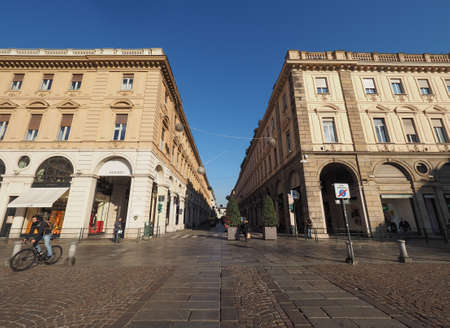 via: TURIN, ITALY - CIRCA DECEMBER 2016: Piazza San Carlo square and Via Roma