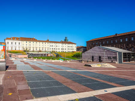 TURIN, ITALY - OCTOBER 22, 2014: Piazzale Valdo Fusi is a large central square with a jazz club, a beer garden, the Museum of Natural History, the Chamber of Commerce (HDR) Editorial