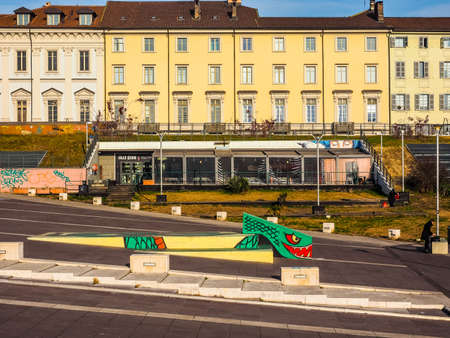 beer garden: TURIN, ITALY - DECEMBER 16, 2015: Piazzale Valdo Fusi square with a jazz club, a beer garden, the Museum of Natural History, the Chamber of Commerce (HDR)