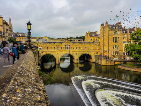 rialto: BATH, UK - CIRCA SEPTEMBER 2016: HDR Pulteney Bridge over the River Avon