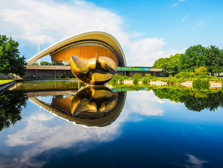 hugh: BERLIN, GERMANY - CIRCA JUNE 2016: Haus der Kulturen der Welt meaning House of the Cultures of the World in Tiergarten park designed in 1957 by Hugh Stubbins for the Interbau exhibition (HDR) Editorial