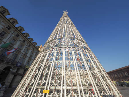 TURIN, ITALY - CIRCA DECEMBER 2016: Albero di Luci (meaning Tree of Lights) Christmas Tree in Piazza Castello Editorial