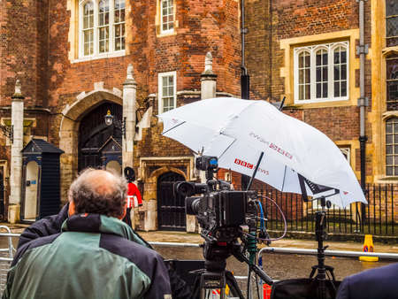 lon: LONDON, ENGLAND, UK - NOVEMBER 30: BBC News location facilities at an outdoor live event broadcast on the occasion of the Royal Christening on November 30, 2013 in London, England, UK (HDR)