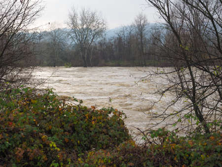 deluge: River Po flood in Turin area, Italy