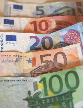 Euro (EUR) banknotes, currency of European Union (EU) - Five, Ten, Twenty, Fifty, One Hundred tender